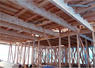 木造軸組構造では困難な大空間を実現!
