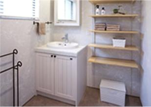 無垢素材のキッチン洗面化粧台が標準装備